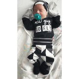 New Guy So Fly Black and Gray Triangle Theme Newborn Outfit - Gigi and Max