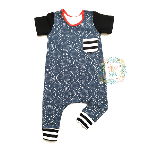 Slate Blue Circles Short Sleeve Romper