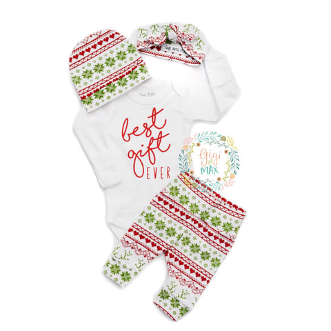 Best Gift Ever Gender Neutral Newborn Outfit - Hat and/or headband option