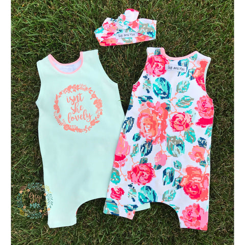 Isn't she Lovely Tank Top and Shorts Romper - Headband is included!