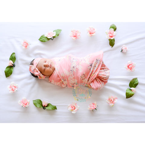 "Swaddle Pink Floral Blanket and Topknot - 34"" x 34"""