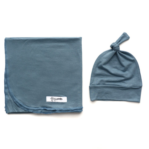 Blue Lightweight Swaddle blanket - Gigi and Max
