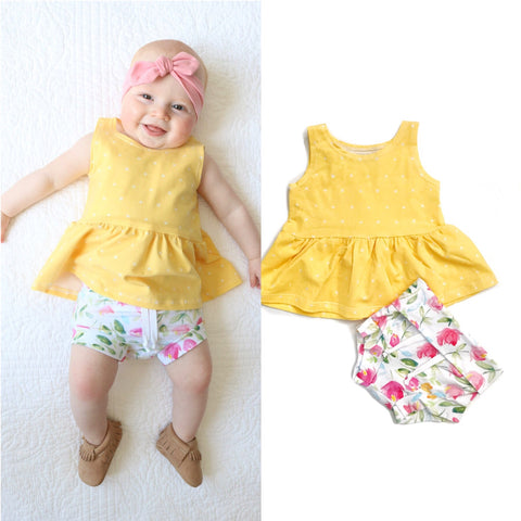 Bright Yellow with cross Peplum and tulip floral Shorties Set Handmade - Gigi and Max