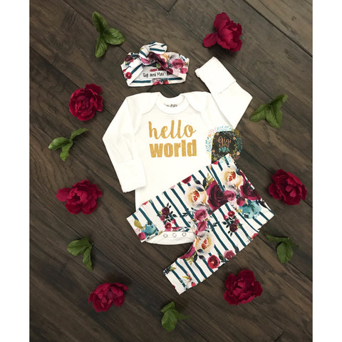 Fall Floral Hello World Newborn Outfit