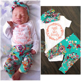 Teal Floral Isn't She Lovely Newborn Outfit - Gigi and Max