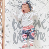 Blue floral and Pink Hello World Newborn Outfit