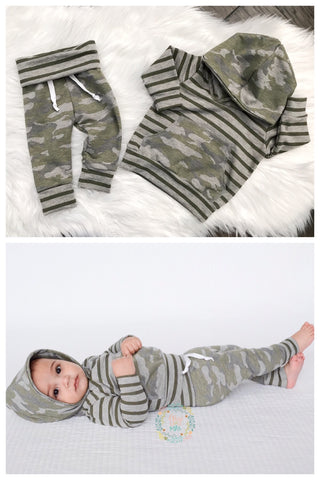 Olive Stripe and Camo Hoodie and Jogger Set Handmade - Gigi and Max