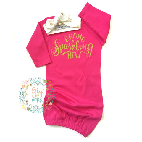 Hot Pink and Gold Brand Sparkling New with headband