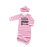 Little sister Handmade stripe gown - Pink