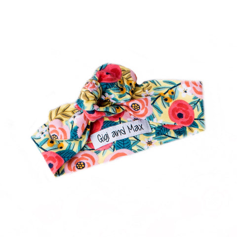 Yellow and Coral floral topknot headband - Gigi and Max