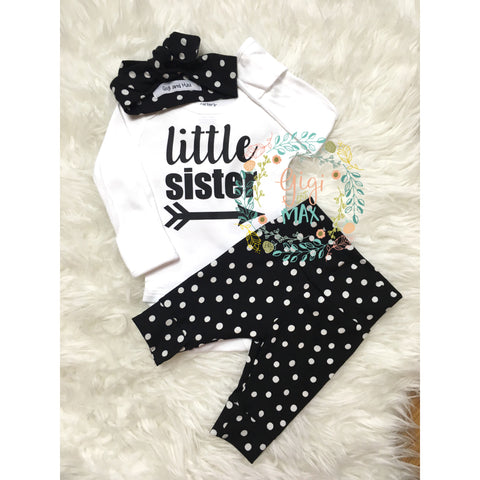 Little Sister newborn outfit large polka dots