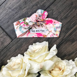 Light Pink Floral topknot headband - Gigi and Max