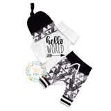 Hello World Black and Gray Triangle Theme Newborn Outfit