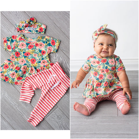 Raeleigh Coral floral Peplum and Leggings Set Handmade (headband sold separately) - Gigi and Max