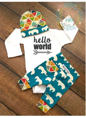 Dark Teal Elephant Theme Newborn Set
