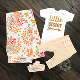 Little Sister newborn outfit Gold Shimmer coral stripe - Gigi and Max