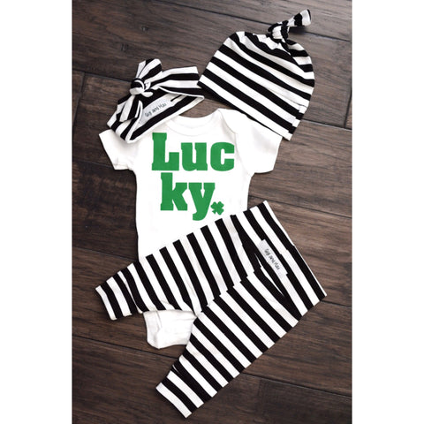 Gender Neutral Lucky newborn set wide stripe