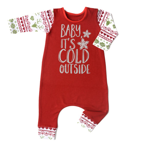 Baby It's Cold Outside Red with Christmas sweater print arms - Long Sleeve romper - Gigi and Max