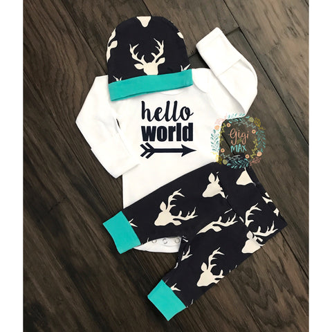 Navy Deer and Teal - Newborn Coming Home Set - Gigi and Max
