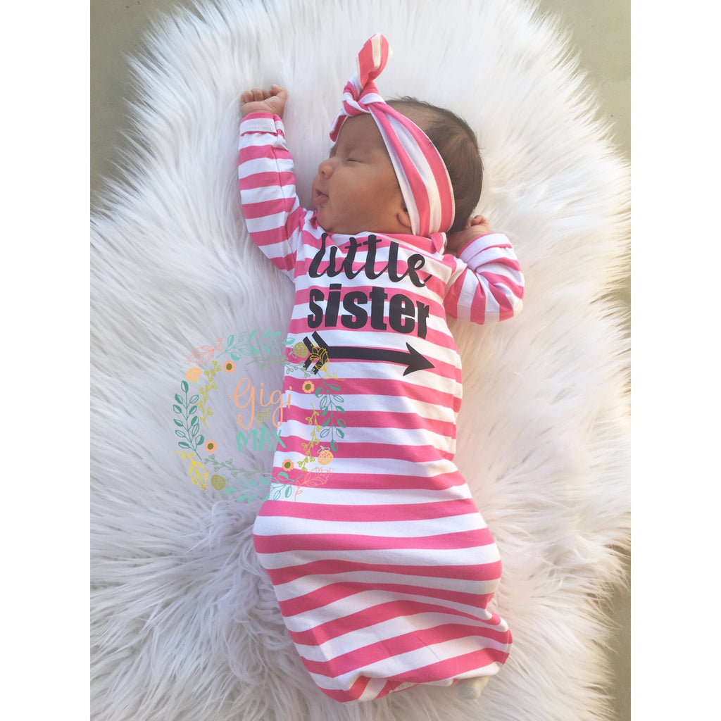 Little sister Handmade stripe gown - Pink – Gigi and Max