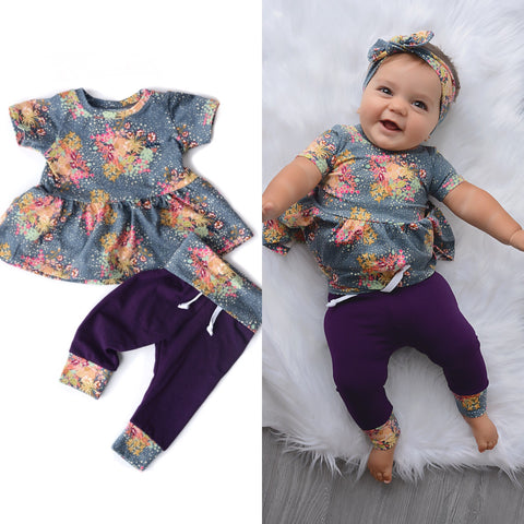 Bloom floral Peplum and Leggings Set Handmade (headband sold separately) - Gigi and Max