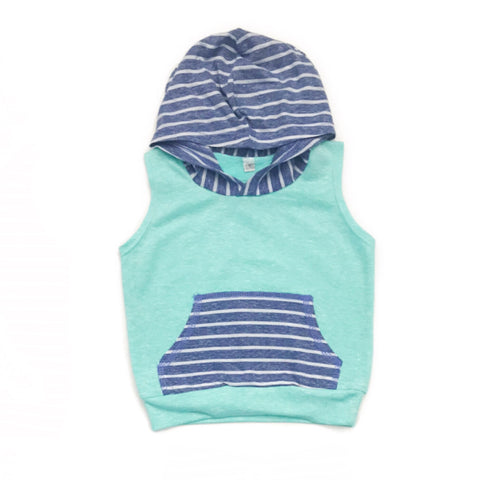 Mint and Blue stripe Tank Hoodie only - Gigi and Max