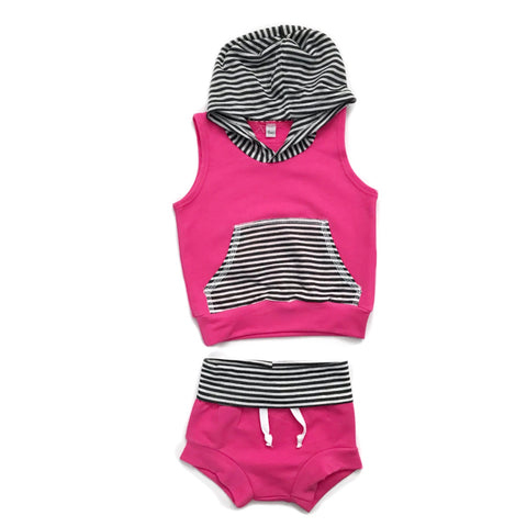 Hot pink and stripes - Tank Hoodie and Shorties Set Handmade - Gigi and Max