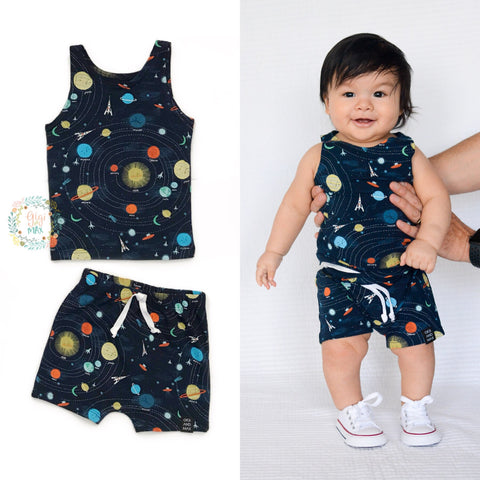 Solar System Tank and Shorts Set Handmade - Gigi and Max