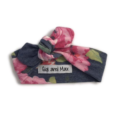 Navy Floral headband - matches navy floral romper - Gigi and Max