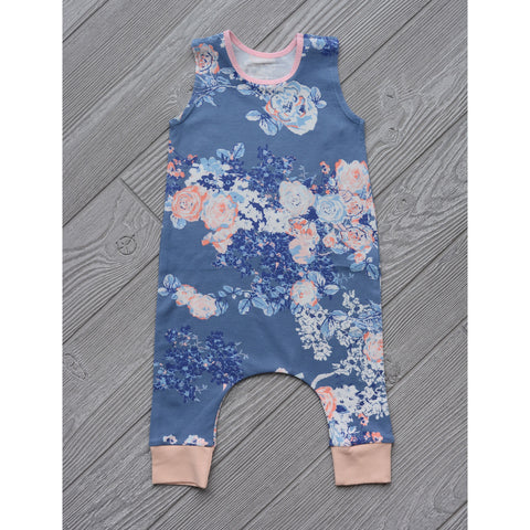 Slate Floral blue and pink - Tank Pant Romper - Gigi and Max