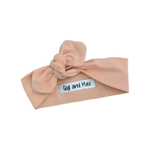 Solid pale peach topknot headband - Gigi and Max