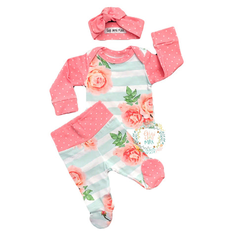 3 Piece Newborn Outfit Polka Dots and Floral - Gigi and Max