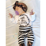 New Floral Isn't she Lovely Floral and Stripe Newborn Outfit - Gigi and Max