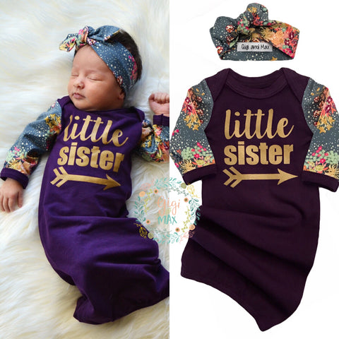 Little sister Handmade Plum and Floral gown