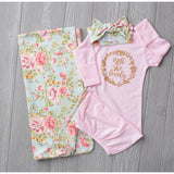 Isn't She Lovely Gold on Pink Grace floral (Optional swaddle and headband, you choose) - Gigi and Max