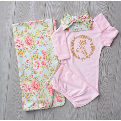 3 Piece Set - Isn't She Lovely Gold on Pink Grace floral (1 gown, 1 swaddle, 1 headband OPTIONS) - Gigi and Max