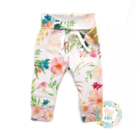 Mustard and Pink Watercolor floral Jogger pants only