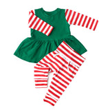 PREORDER Green with Red Stripes Christmas Peplum and Leggings Set Handmade (headband sold separately) - Gigi and Max