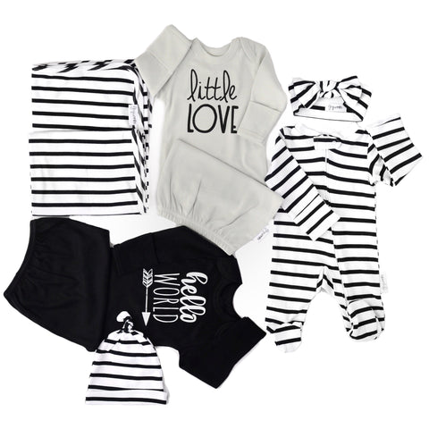 Ultimate Gender Neutral Newborn going home outfit bundle (Monochrome) - save $17! - Gigi and Max