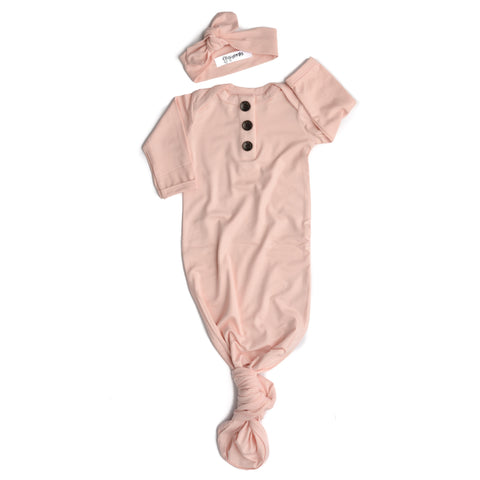 Powder Pink Knotted Button Gown -  NB-3m - Gigi and Max