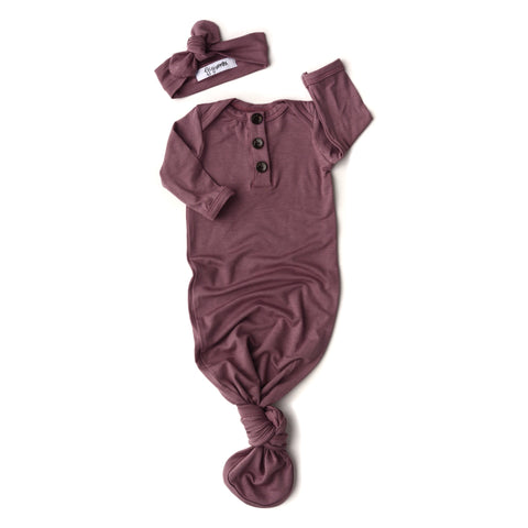 Mauve Kate Knotted Button Gown -  NB-3m - Gigi and Max