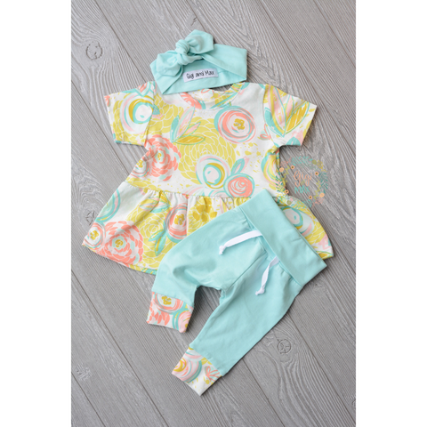 Lola Mint floral Peplum and Leggings Set Handmade (headband sold separately) - Gigi and Max