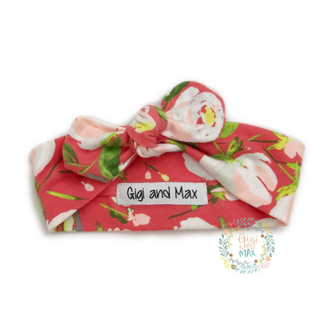 Peach and Coral Floral topknot headband