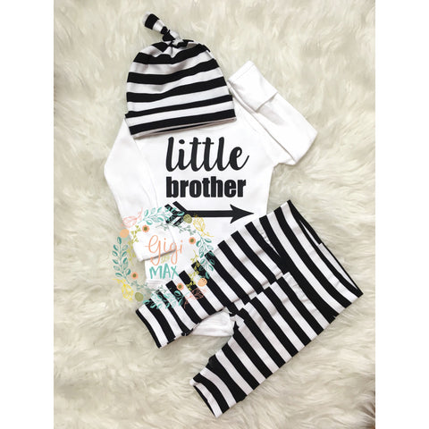 Little Brother newborn outfit wide stripe
