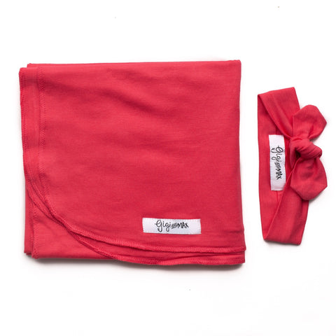 Coral Pink Lightweight Swaddle blanket - Gigi and Max