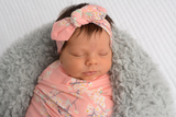"Swaddle Pink Floral Blanket and Topknot - 34"" x 34"" - Gigi and Max"