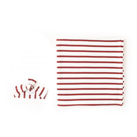Rory Maroon Stripe Swaddle blanket - Gigi and Max
