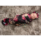 "Stella Floral Swaddle Lightweight blanket and headband -  34"" X 34"" black floral - Gigi and Max"