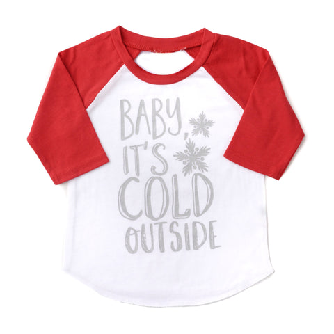 Baby it's Cold Outside Red sleeved Raglan Christmas - Gigi and Max