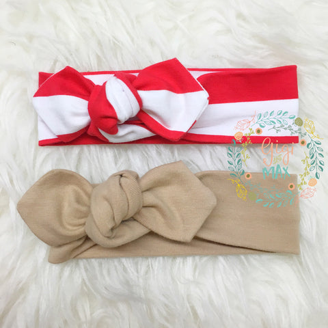 Red stripe and/or Tan headband -  matches holiday rompers!